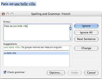 Grammaire - Microsoft Word 2004 (Mac)